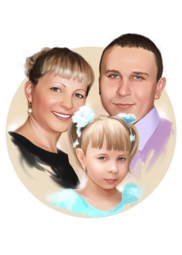 Семейный портрет по фото на холсте в Самаре — правильный подарок!