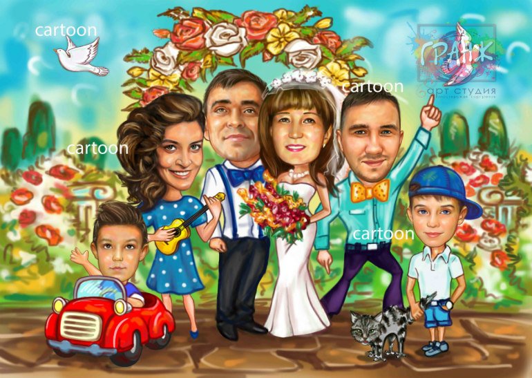 Шарж по фото на годовщину свадьбы на заказ в Самаре…
